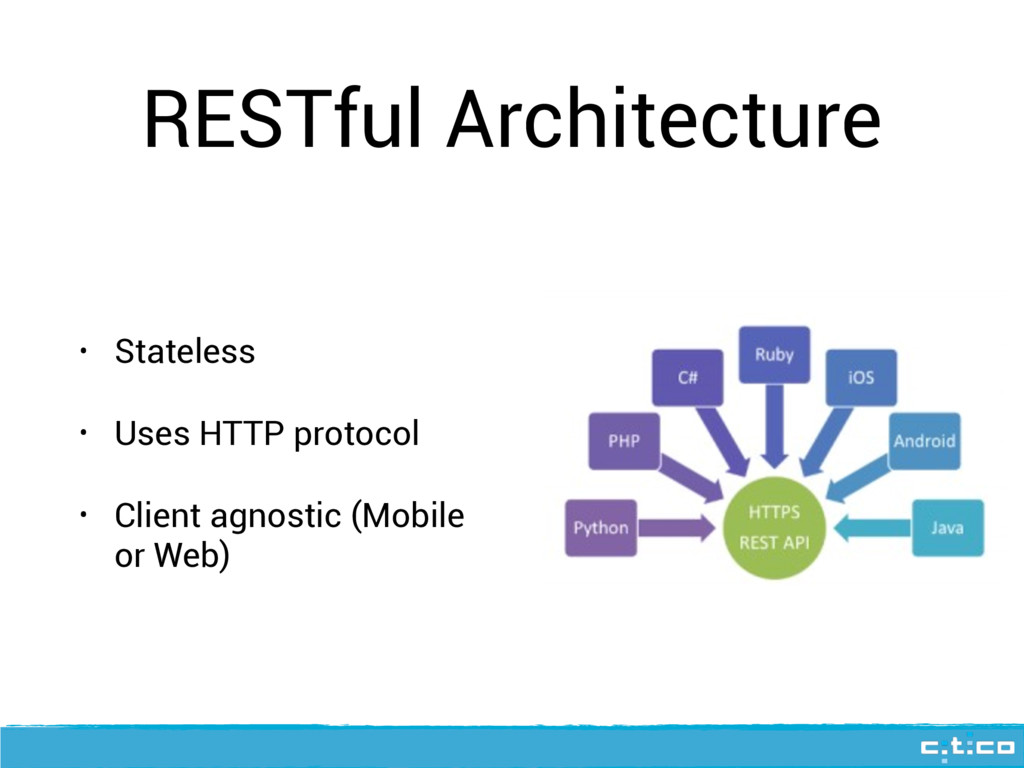 RESTful Architecture • Stateless • Uses HTTP pr...