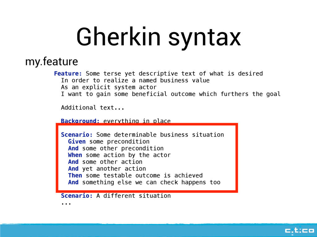 Gherkin syntax Feature: Some terse yet descript...
