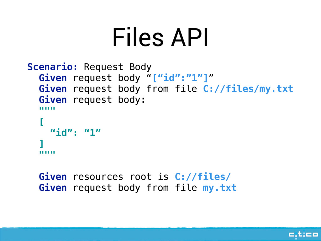 Files API Scenario: Request Body