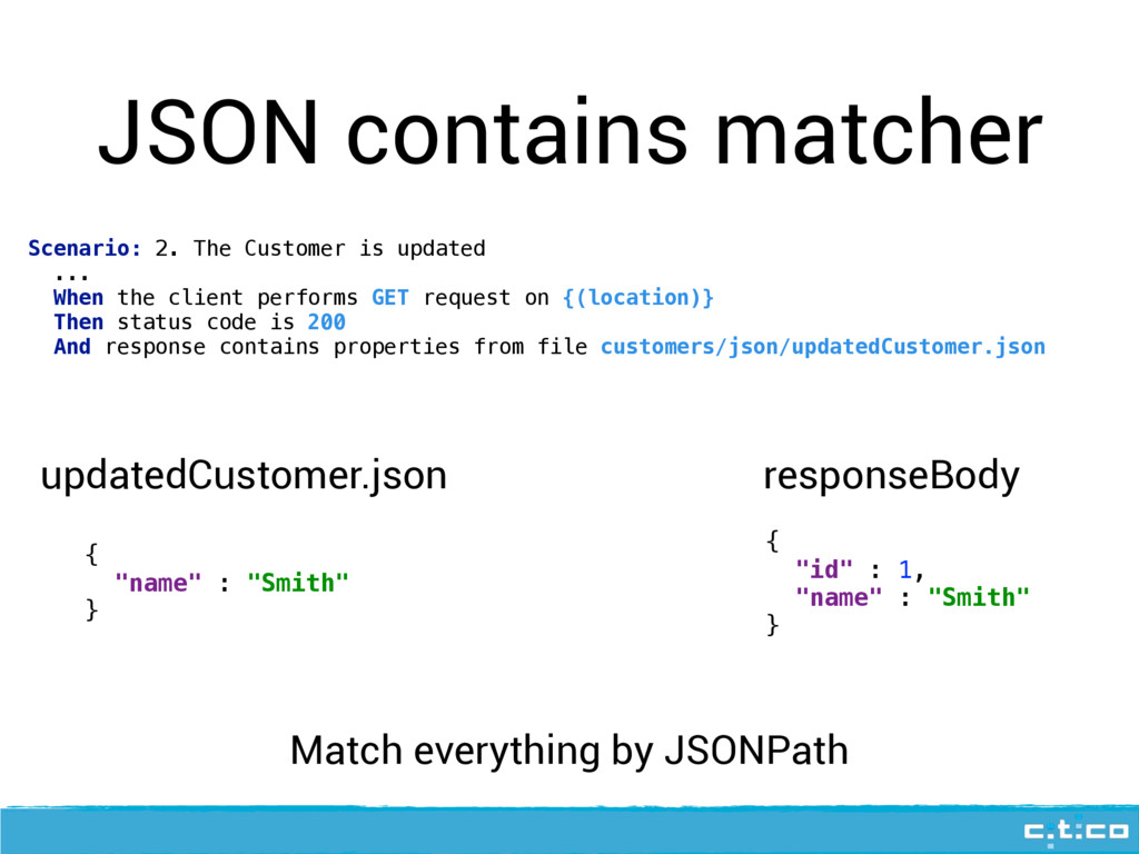 JSON contains matcher Scenario: 2. The Customer...