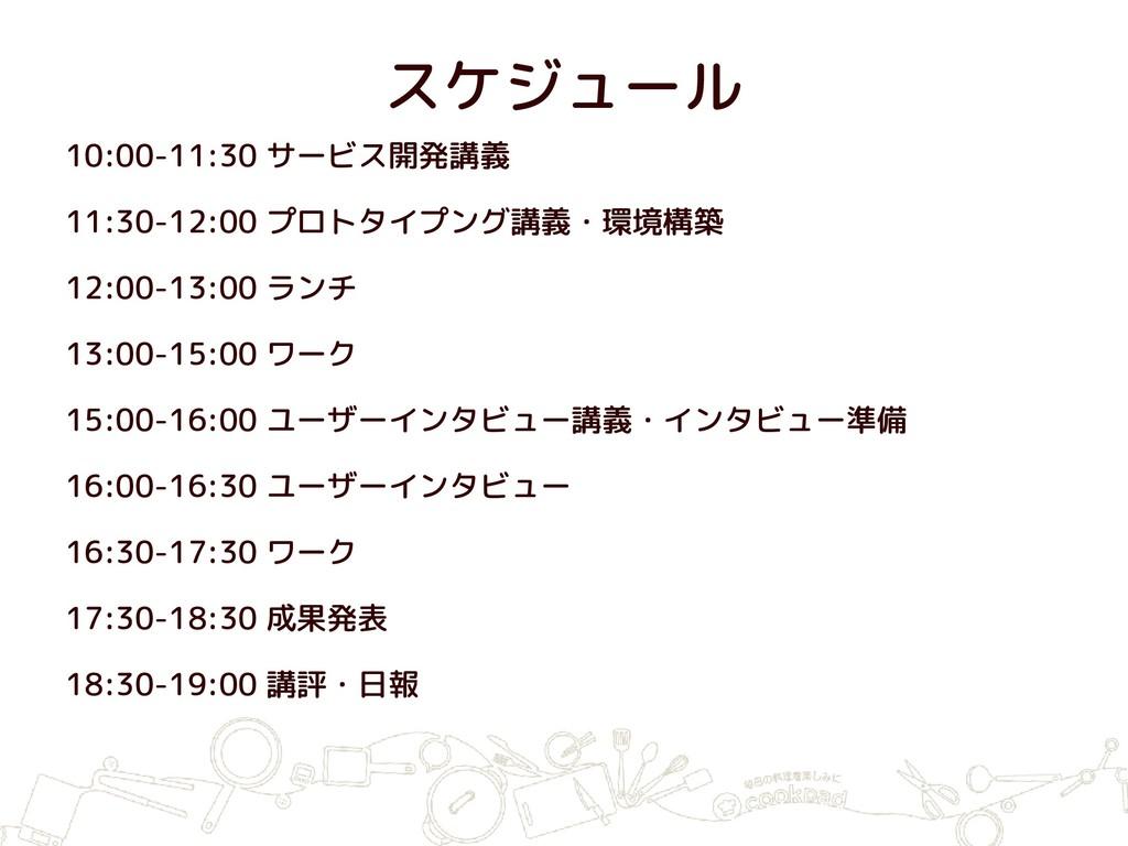 スケジュール 10:00-11:30 サービス開発講義 11:30-12:00 プロトタイプン...