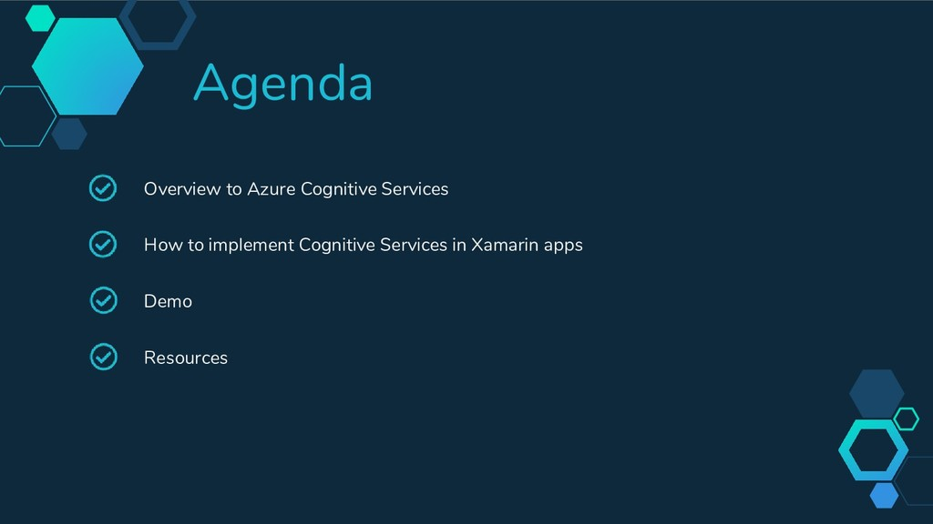 Agenda Overview to Azure Cognitive Services How...