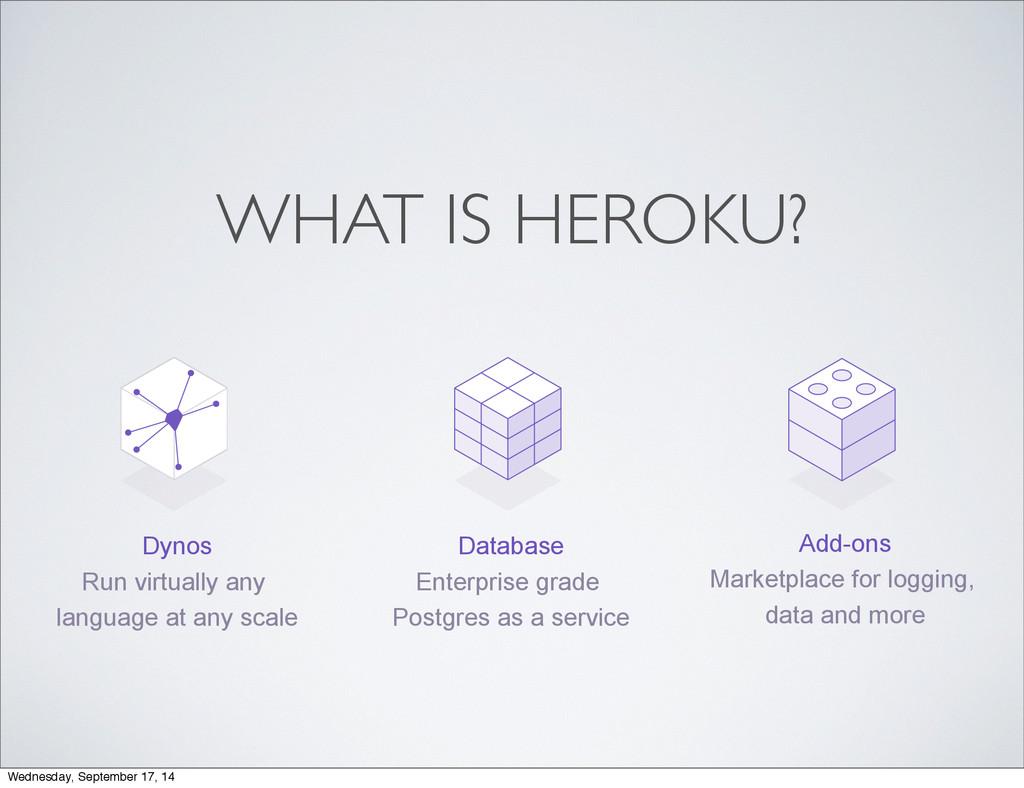 WHAT IS HEROKU? Database Enterprise grade Postg...