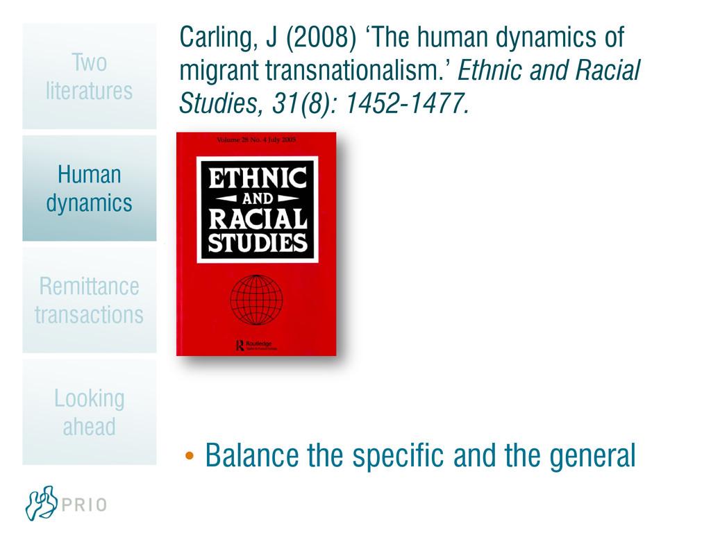 Carling, J (2008) 'The human dynamics of migran...