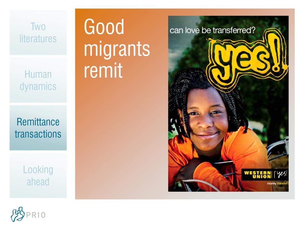 Good migrants remit Two literatures Human dynam...