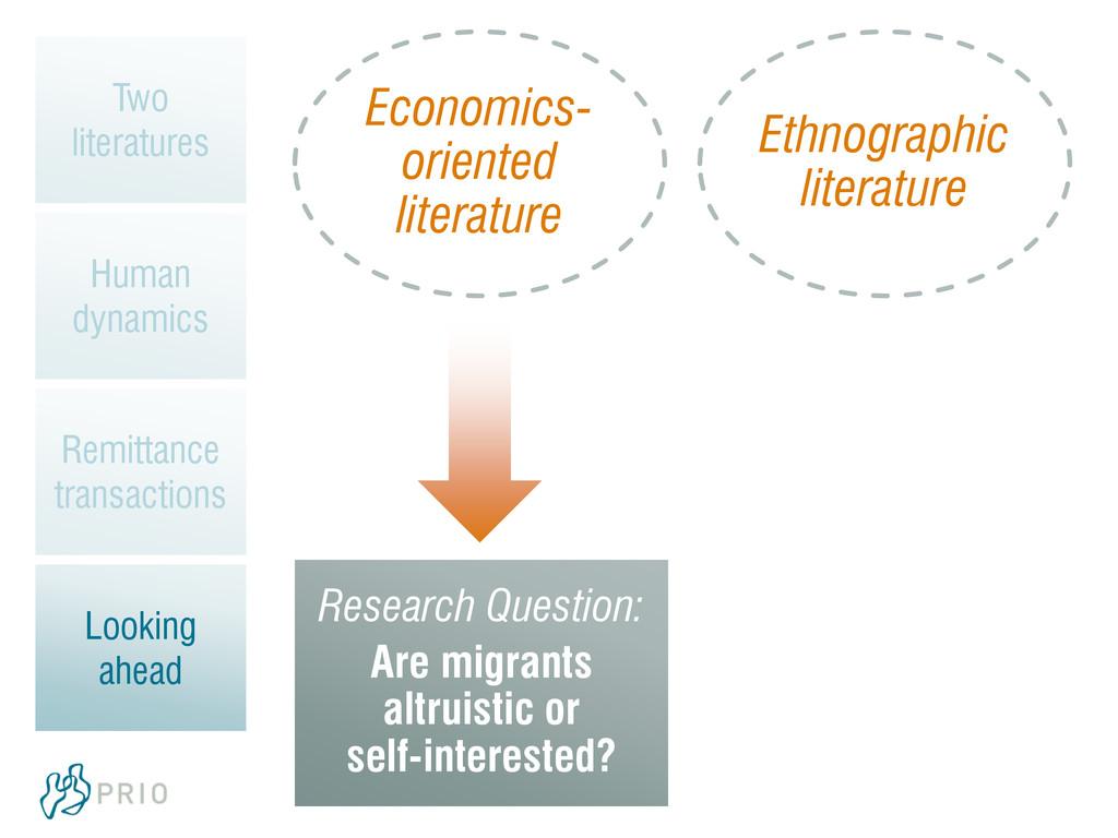 Economics- oriented literature Ethnographic lit...