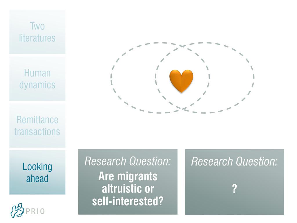 Research Question: Are migrants altruistic or s...