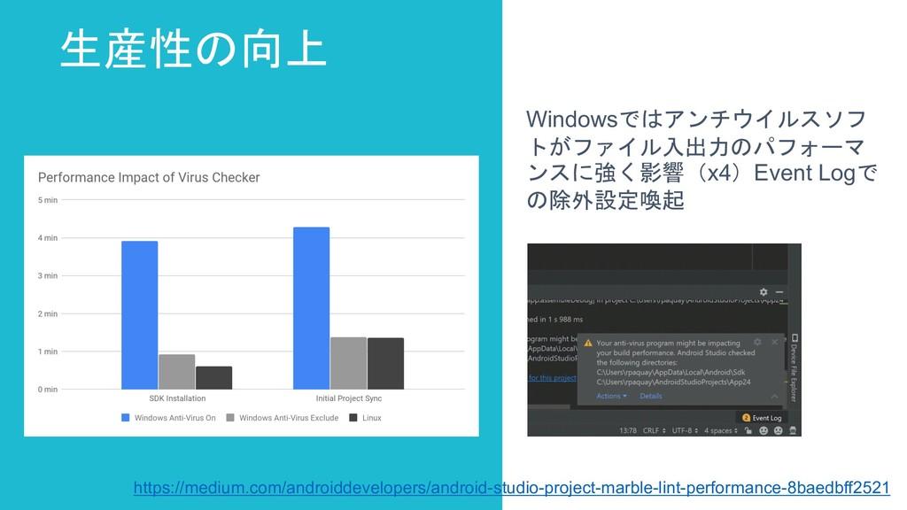 生産性の向上 Windowsではアンチウイルスソフ トがファイル入出力のパフォーマ ンスに強く...