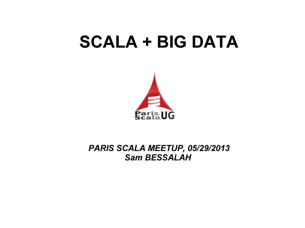 SCALA + BIG DATA PARIS SCALA MEETUP, 05/29/2013...