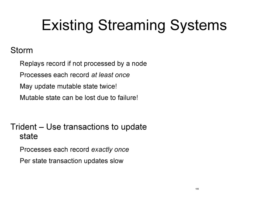 Existing Streaming Systems Storm Replays record...