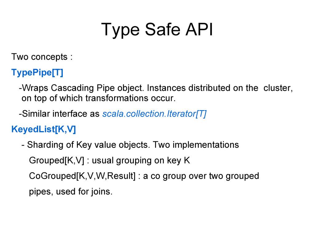 Type Safe API Two concepts : TypePipe[T] -Wraps...
