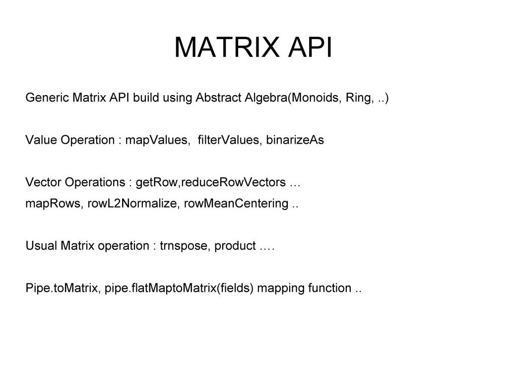 MATRIX API Generic Matrix API build using Abstr...