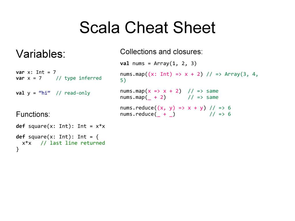 Scala Cheat Sheet Variables: var x: Int = 7 var...