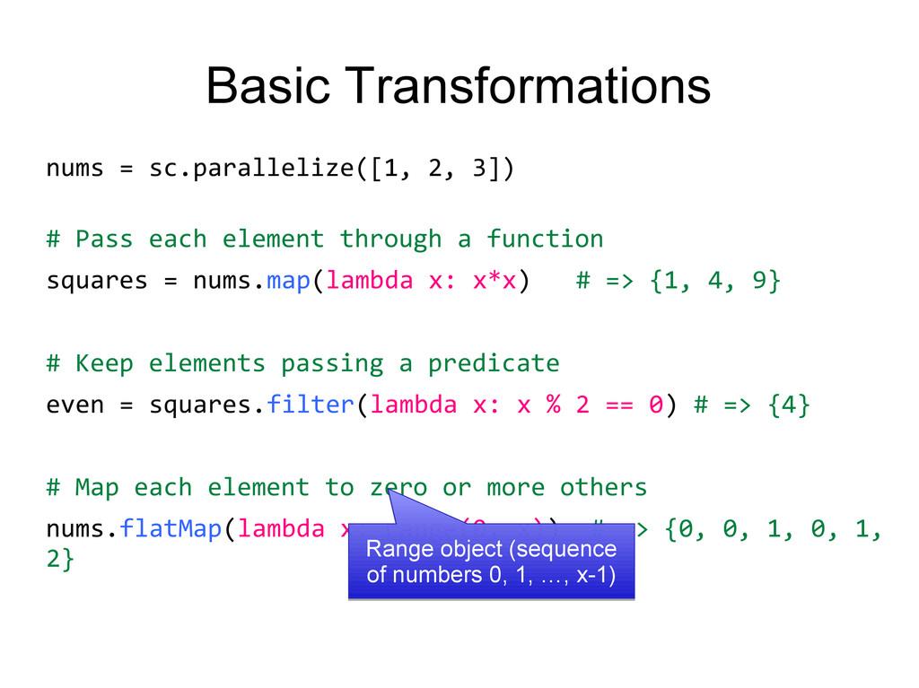 Basic Transformations nums = sc.parallelize([1,...