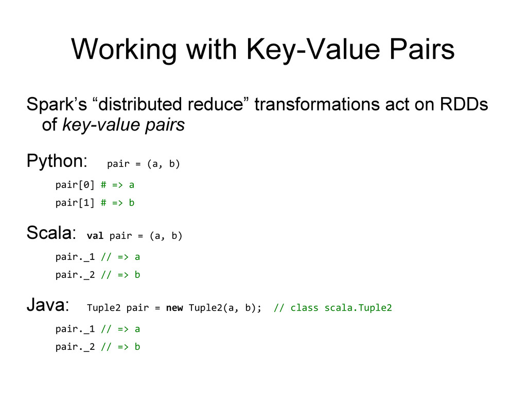 """Spark's """"distributed reduce"""" transformations ac..."""