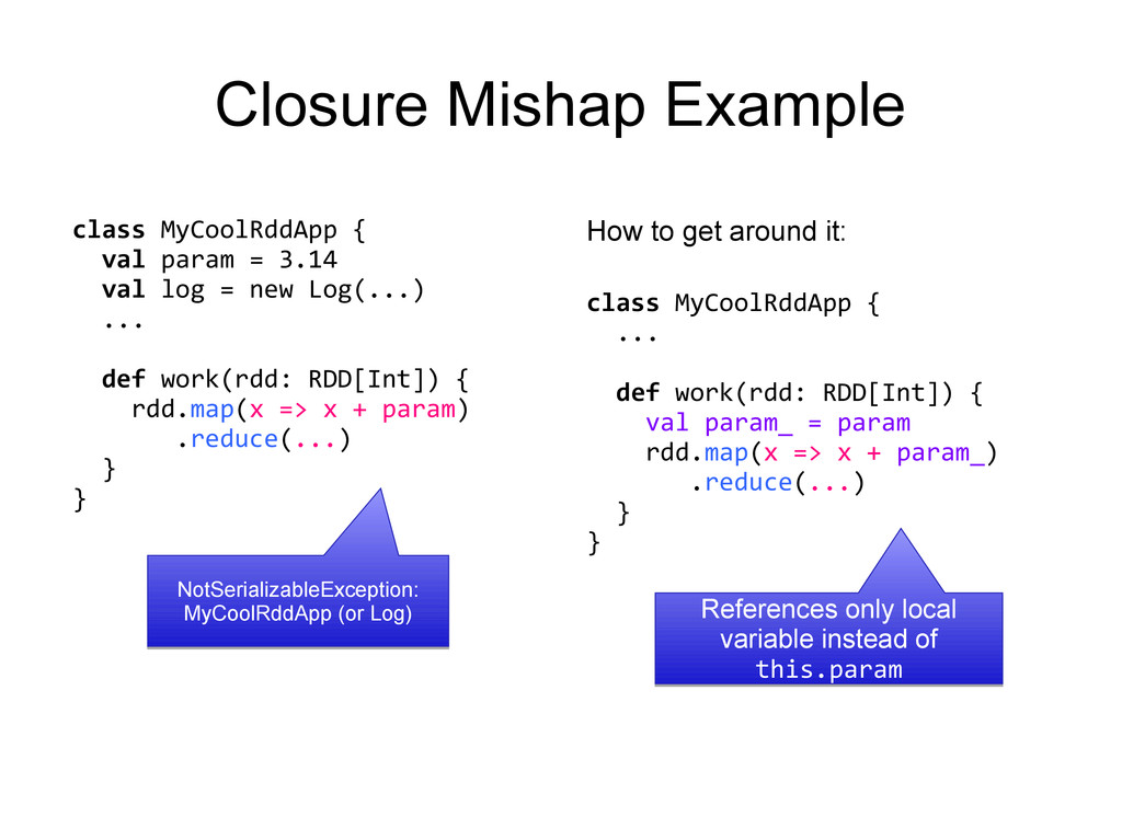 class MyCoolRddApp { val param = 3.14 val log =...