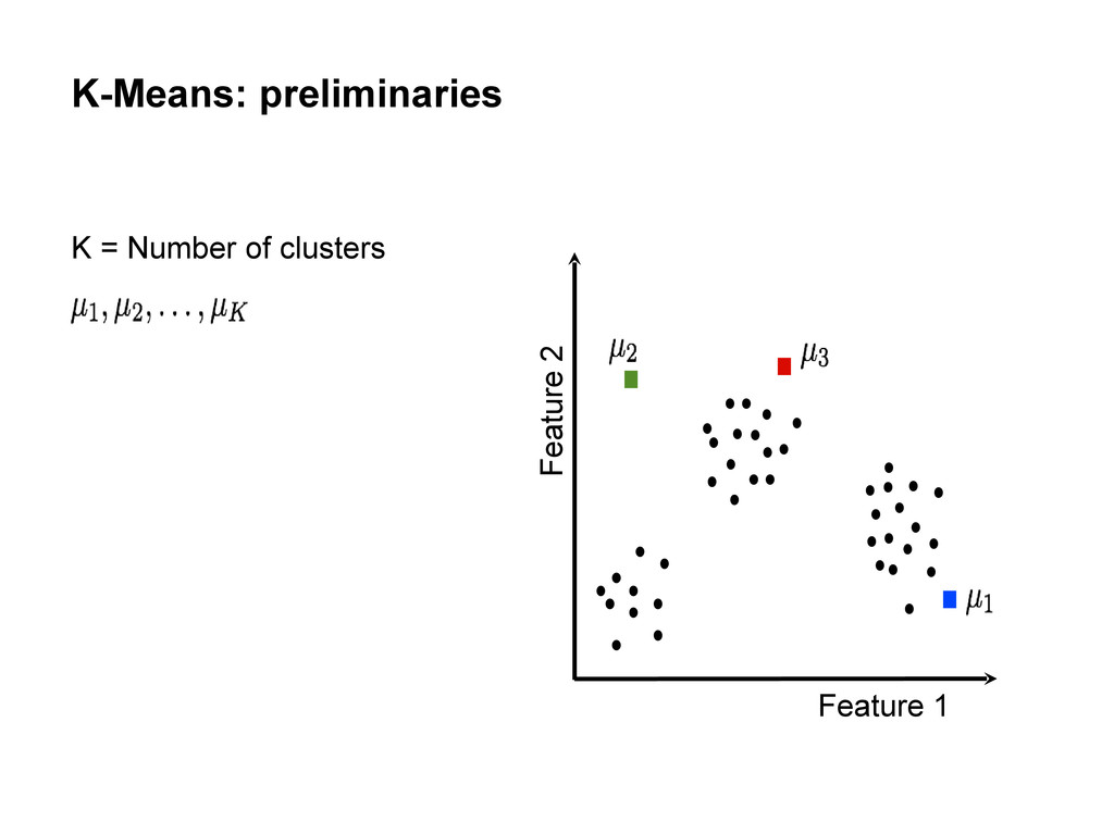 K-Means: preliminaries Feature 1 Feature 2 K = ...