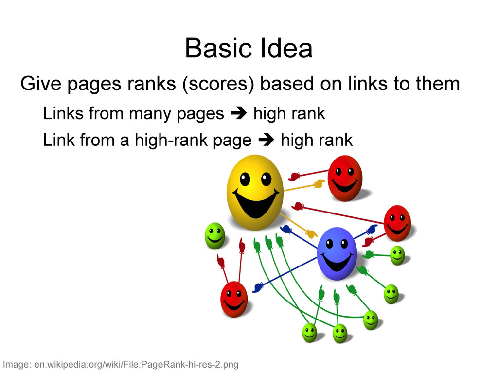 Basic Idea Give pages ranks (scores) based on l...
