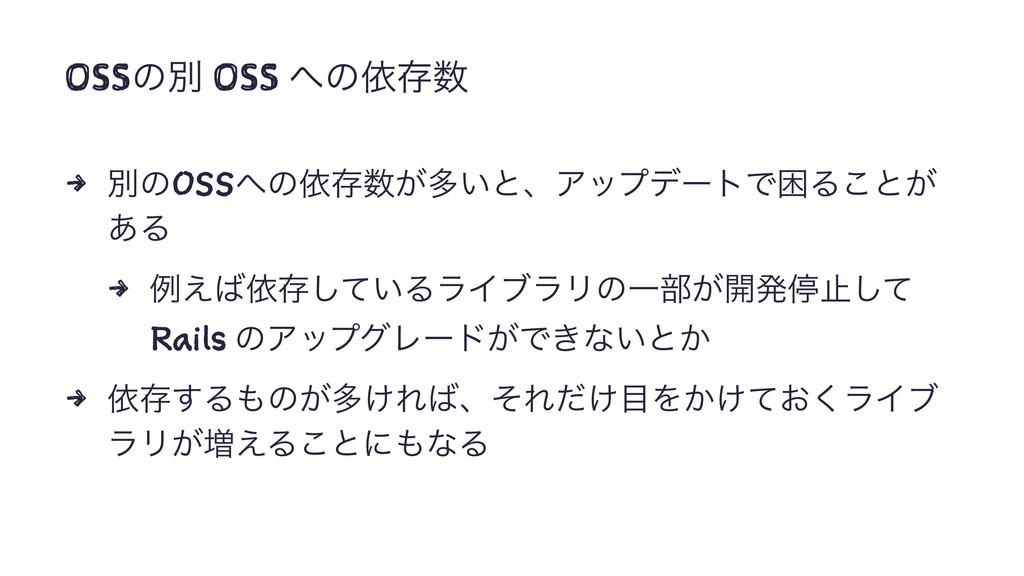OSSͷผ OSS ͷґଘ 4 ผͷOSSͷґଘ͕ଟ͍ͱɺΞοϓσʔτͰࠔΔ͜ͱ͕ ͋...