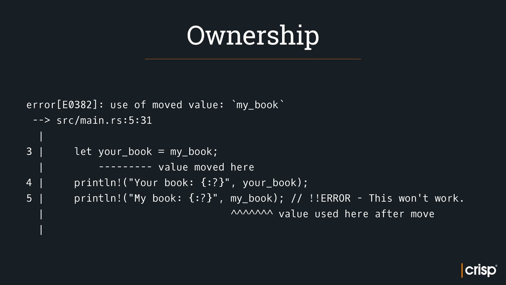 error[E0382]: use of moved value: `my_book` -->...