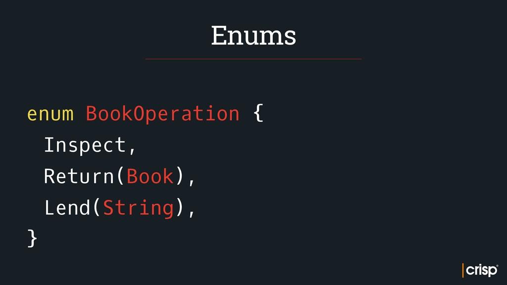 enum BookOperation { Inspect, Return(Book), Len...