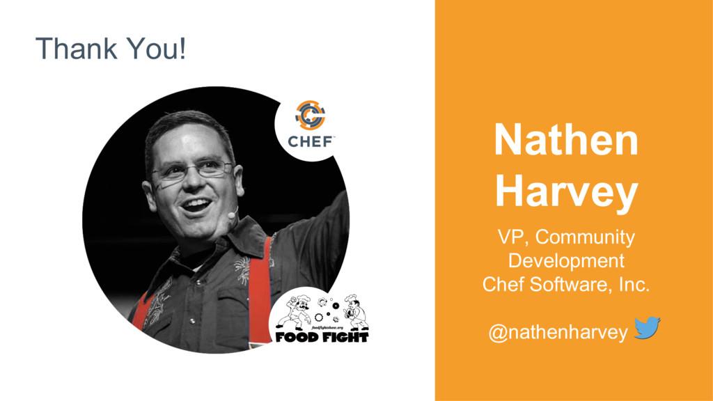 Thank You! Nathen Harvey VP, Community Developm...