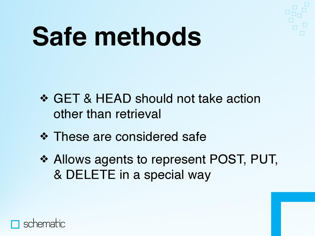 Safe methods ❖ GET & HEAD should not take actio...