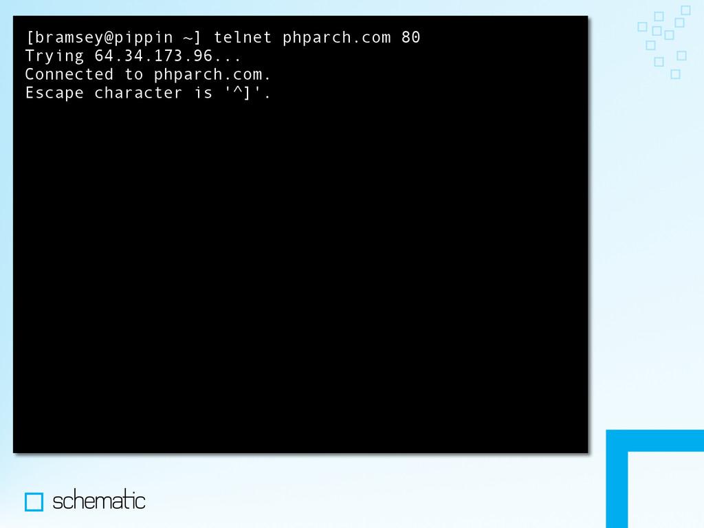 [bramsey@pippin ~] telnet phparch.com 80 Trying...