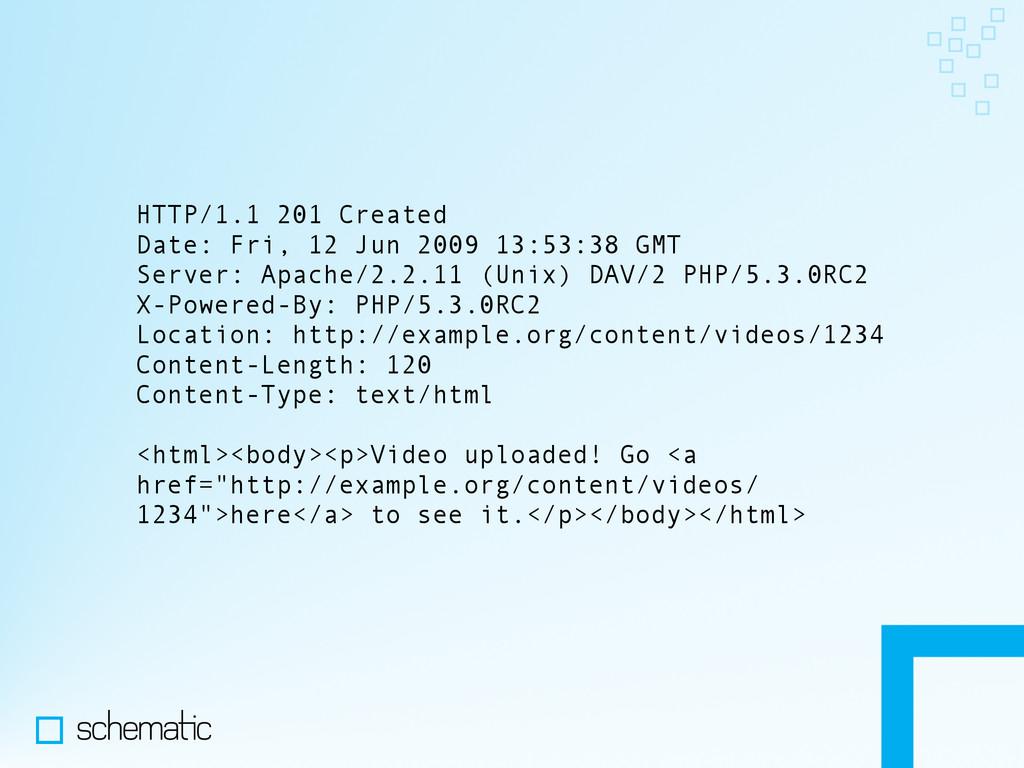 HTTP/1.1 201 Created Date: Fri, 12 Jun 2009 13:...