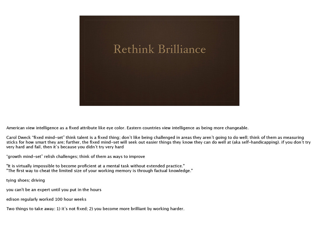 Rethink Brilliance American view intelligence a...