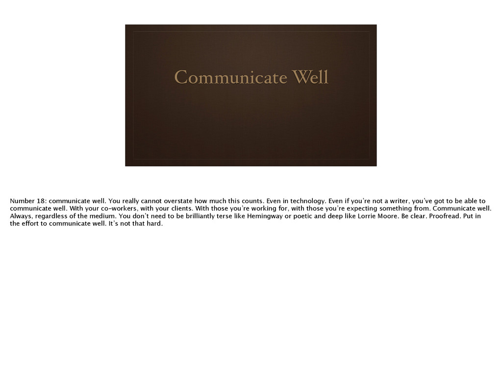 Communicate Well Number 18: communicate well. Y...