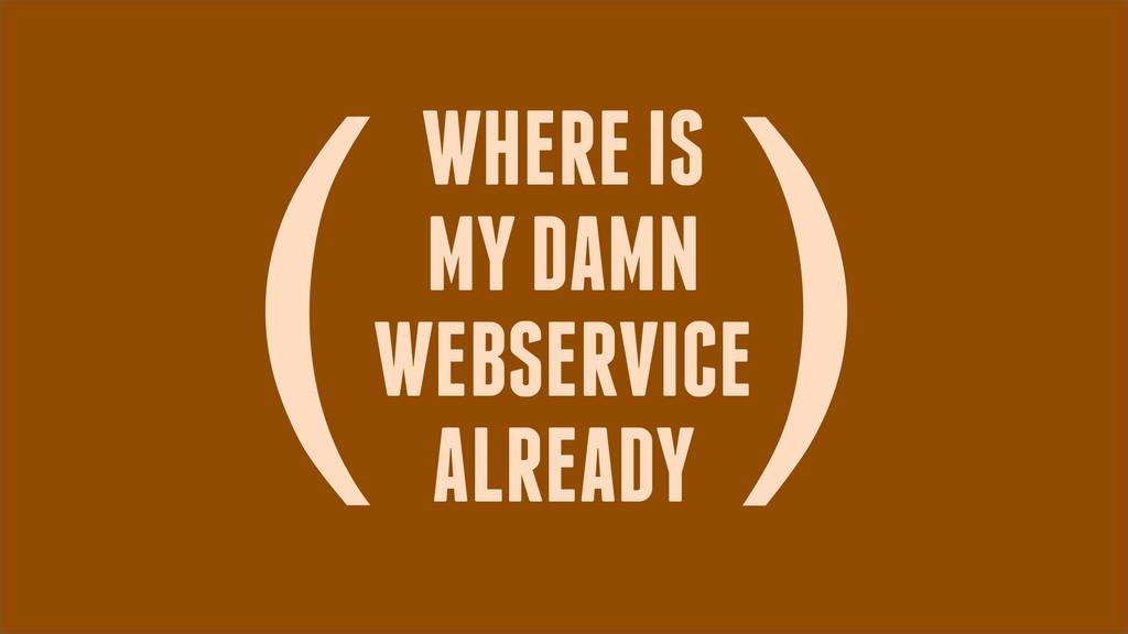 WHERE IS MY DAMN WEBSERVICE ALREADY ( )
