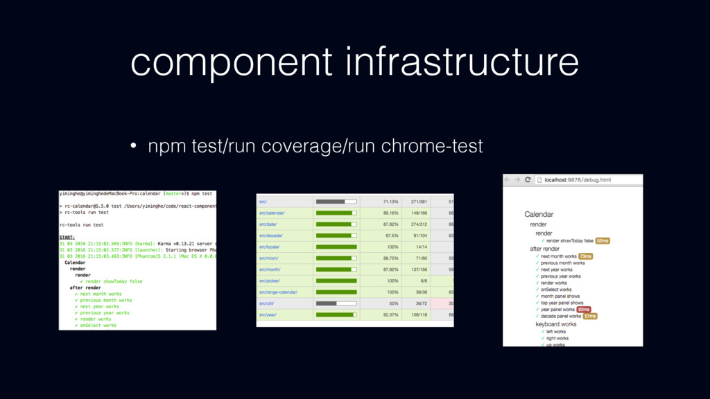 component infrastructure • npm test/run coverag...