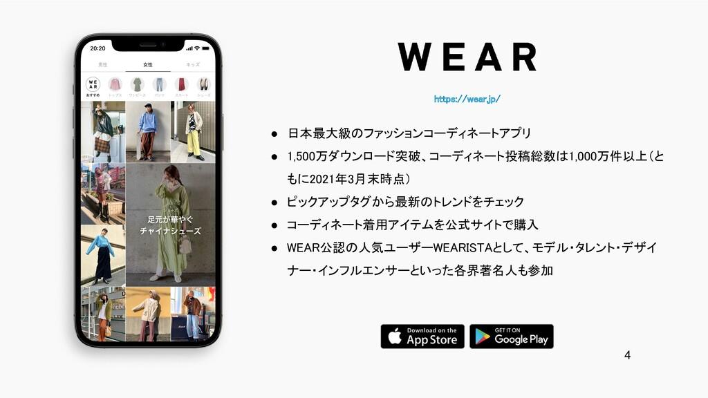 https://wear.jp/ ● 日本最大級のファッションコーディネートアプリ ● 1...