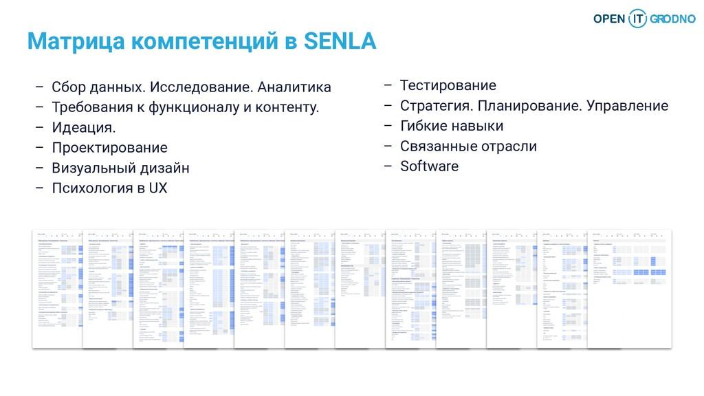 Матрица компетенций в SENLA – Сбор данных. Иссл...