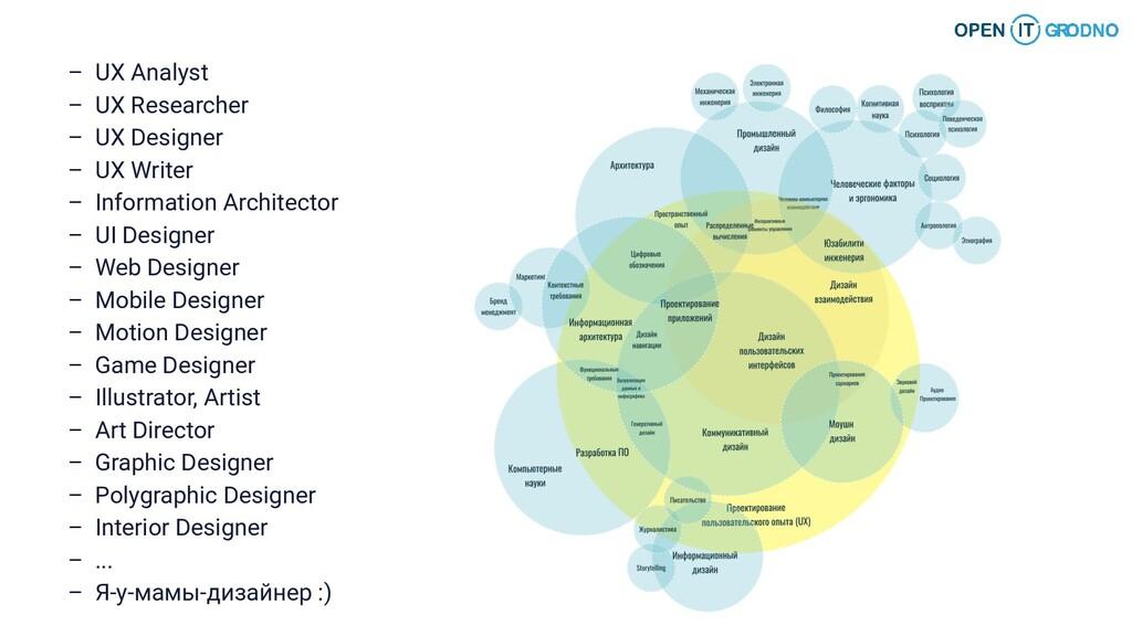 – UX Analyst – UX Researcher – UX Designer – UX...