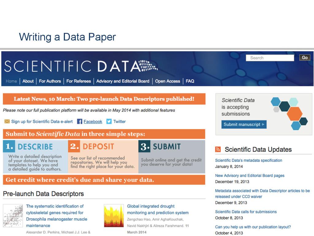 Writing a Data Paper [Anlass der Präsentation]
