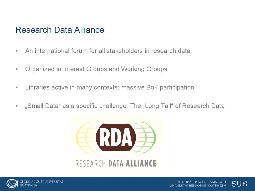 Research Data Alliance • An international foru...