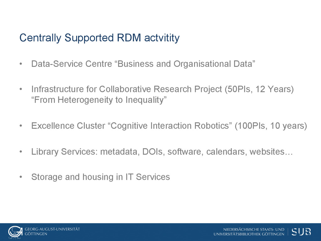Centrally Supported RDM actvitity • Data-Servi...