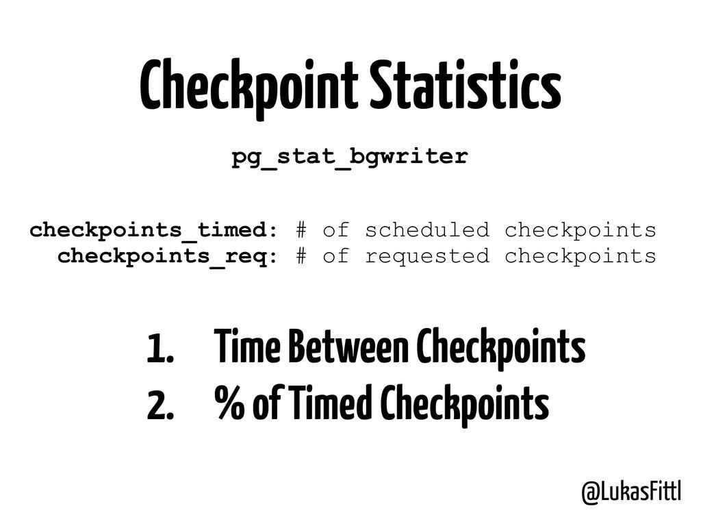 @LukasFittl Checkpoint Statistics pg_stat_bgwri...