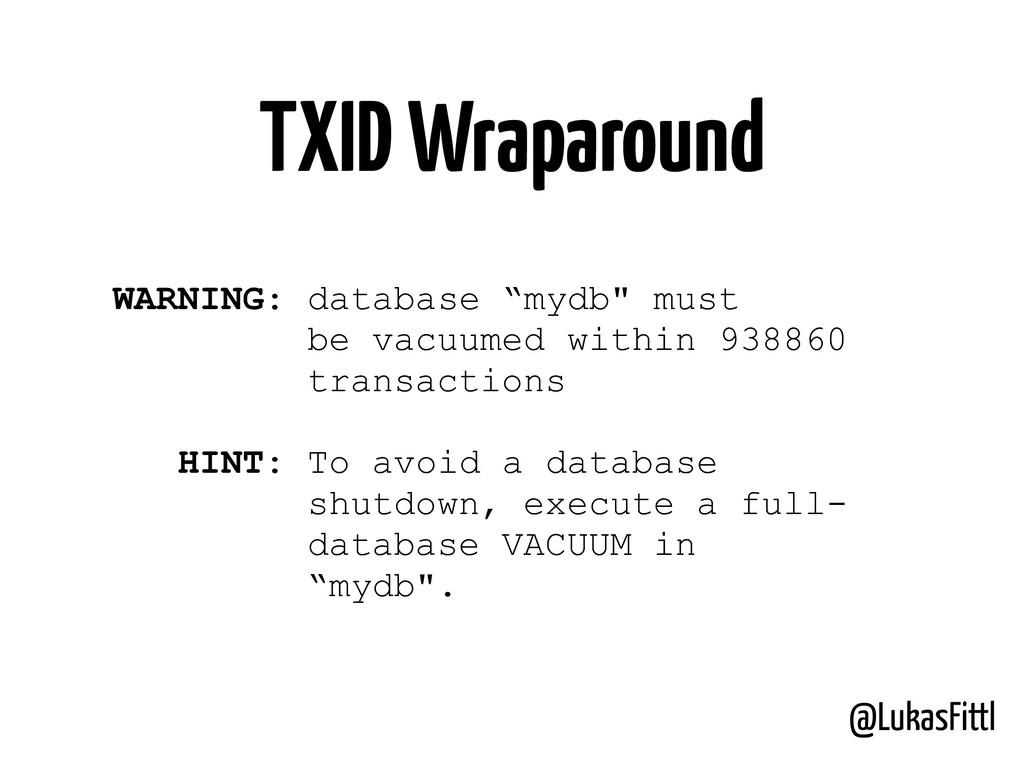 """@LukasFittl TXID Wraparound WARNING: database """"..."""