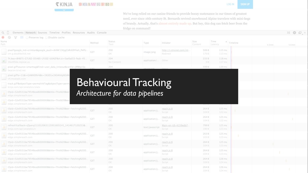 Behavioural Tracking Architecture for data pipe...