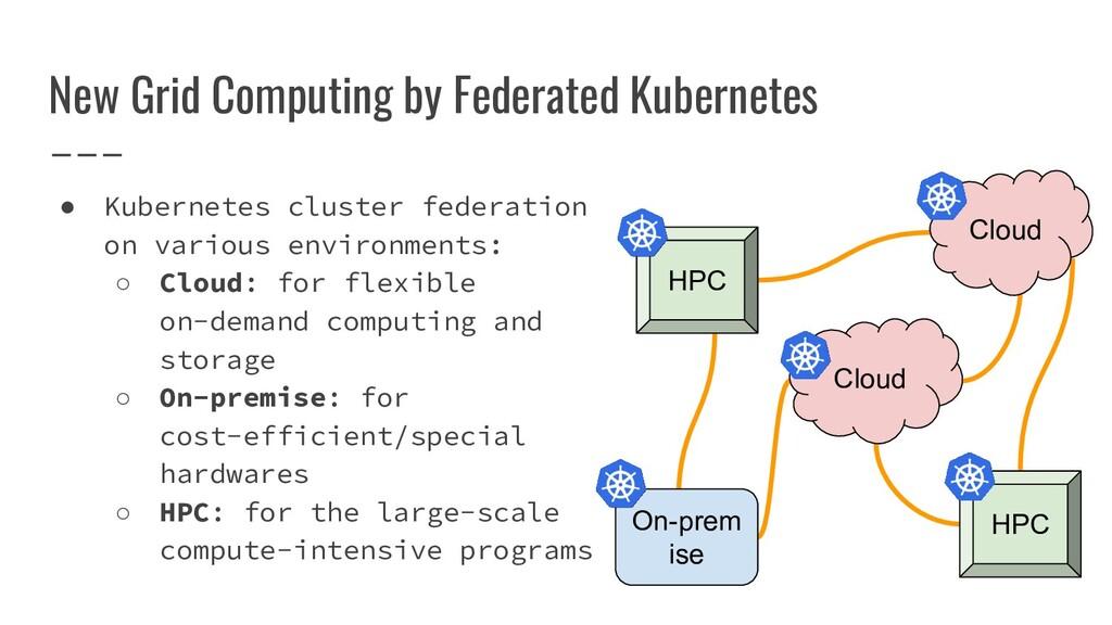 New Grid Computing by Federated Kubernetes ● Ku...