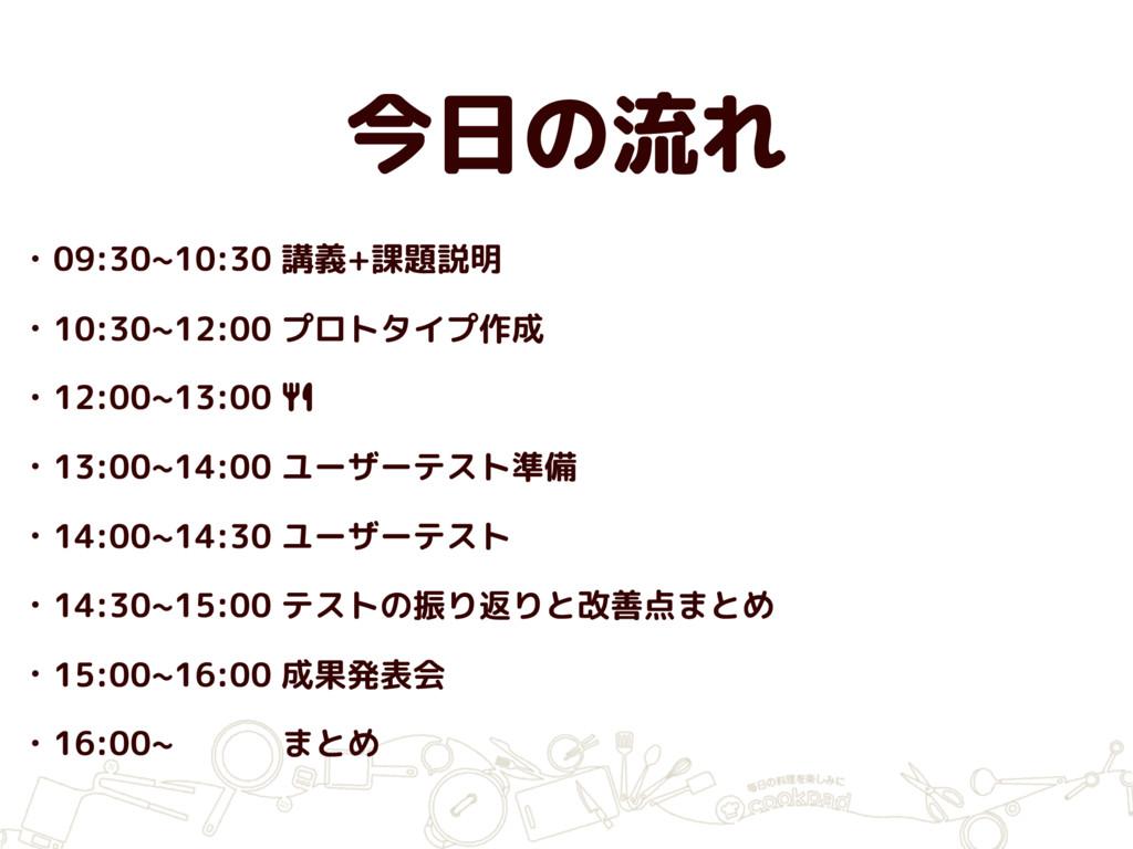 今日の流れ • 09:30~10:30 講義+課題説明 • 10:30~12:00 プロトタイ...