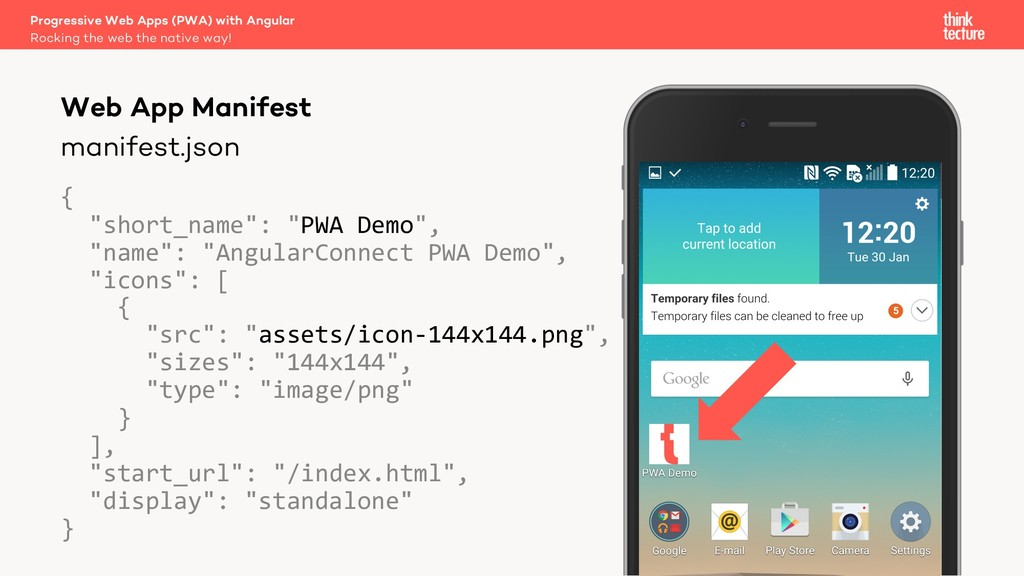 "manifest.json { ""short_name"": ""PWA Demo"", ""name..."
