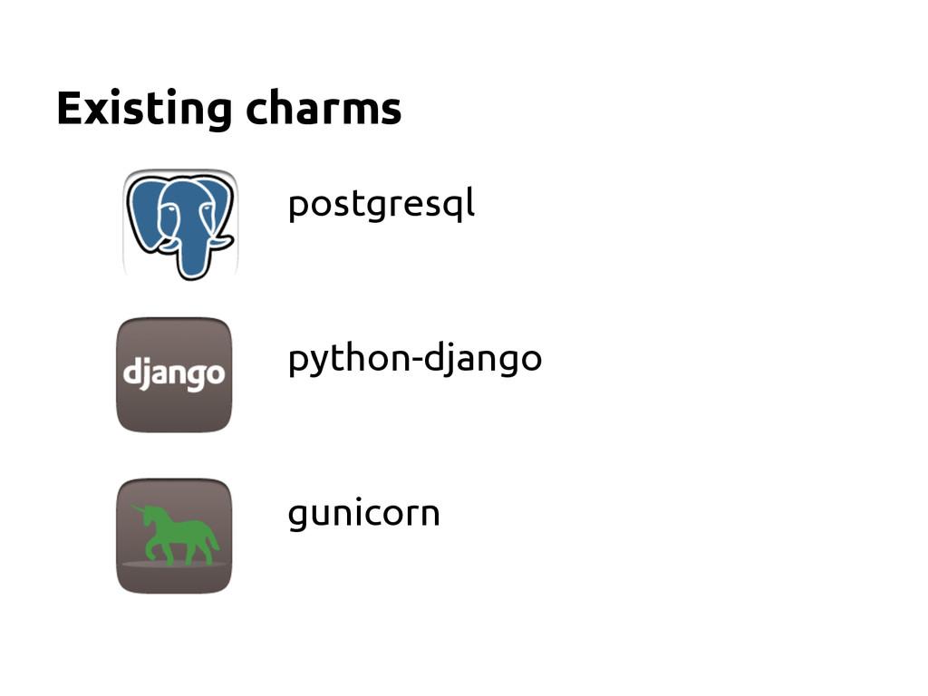 Existing charms postgresql python-django gunico...