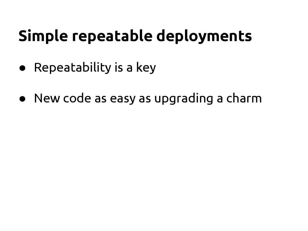 Simple repeatable deployments ● Repeatability i...