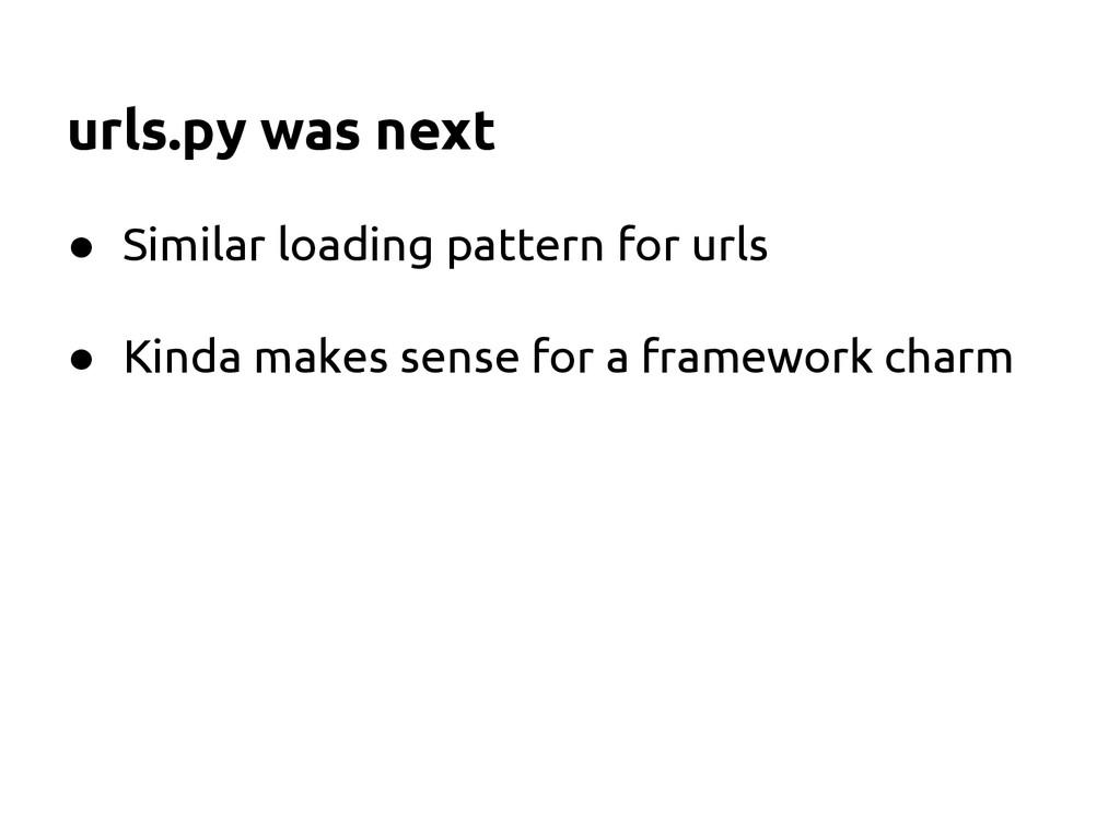 urls.py was next ● Similar loading pattern for ...