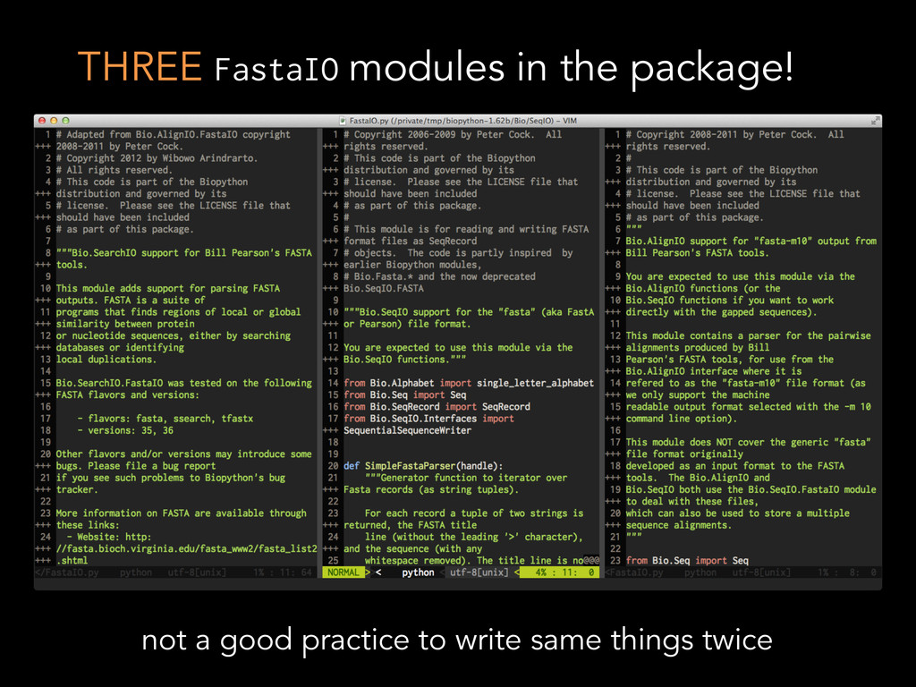 THREE FastaIO modules in the package! not a goo...