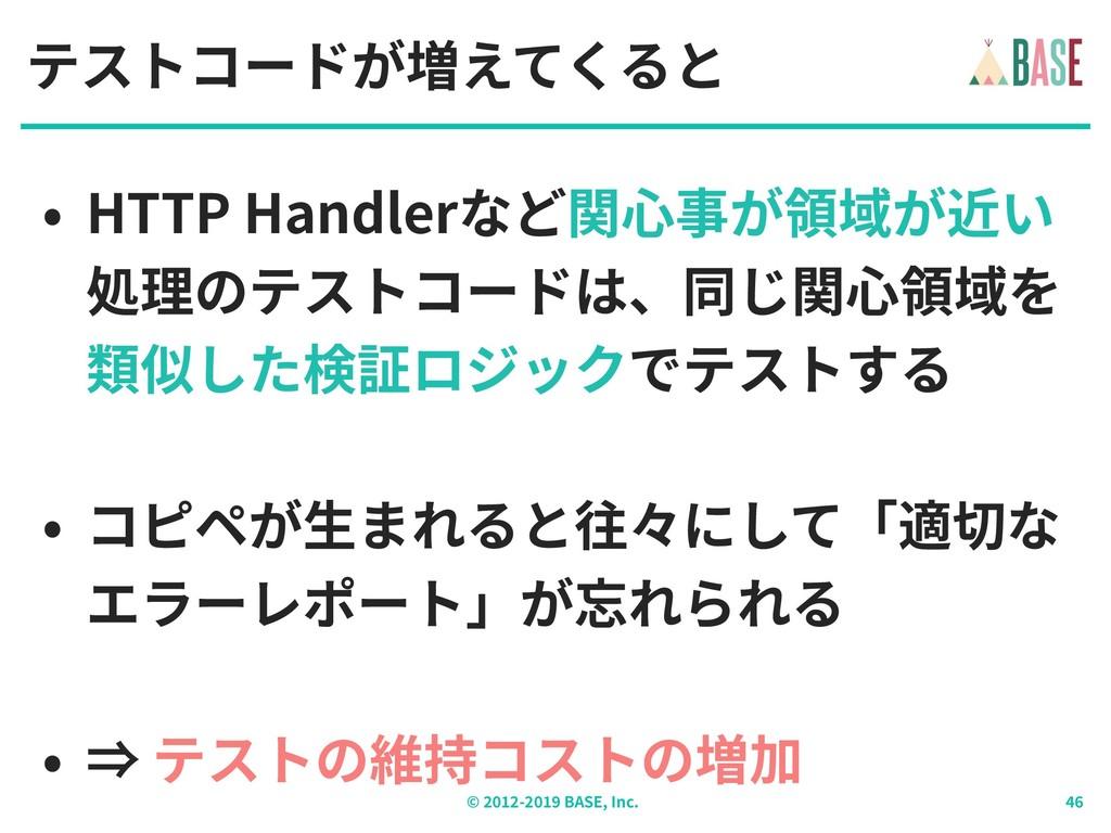© - BASE, Inc. テストコードが増えてくると • HTTP Handlerなど関⼼...